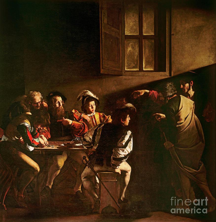 Chiaroscuro Painting - The Calling of St Matthew by Michelangelo Merisi o Amerighi da Caravaggio