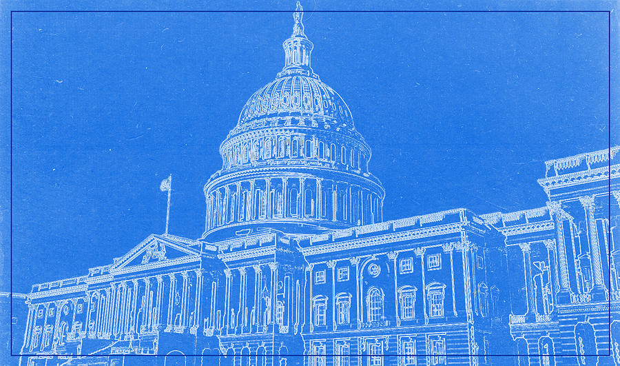 The capitol blueprint painting by celestial images chicago skyline painting the capitol blueprint by celestial images malvernweather Gallery