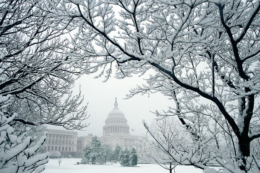 Capitol Photograph - The Capitol In Snow by Joe  Connors