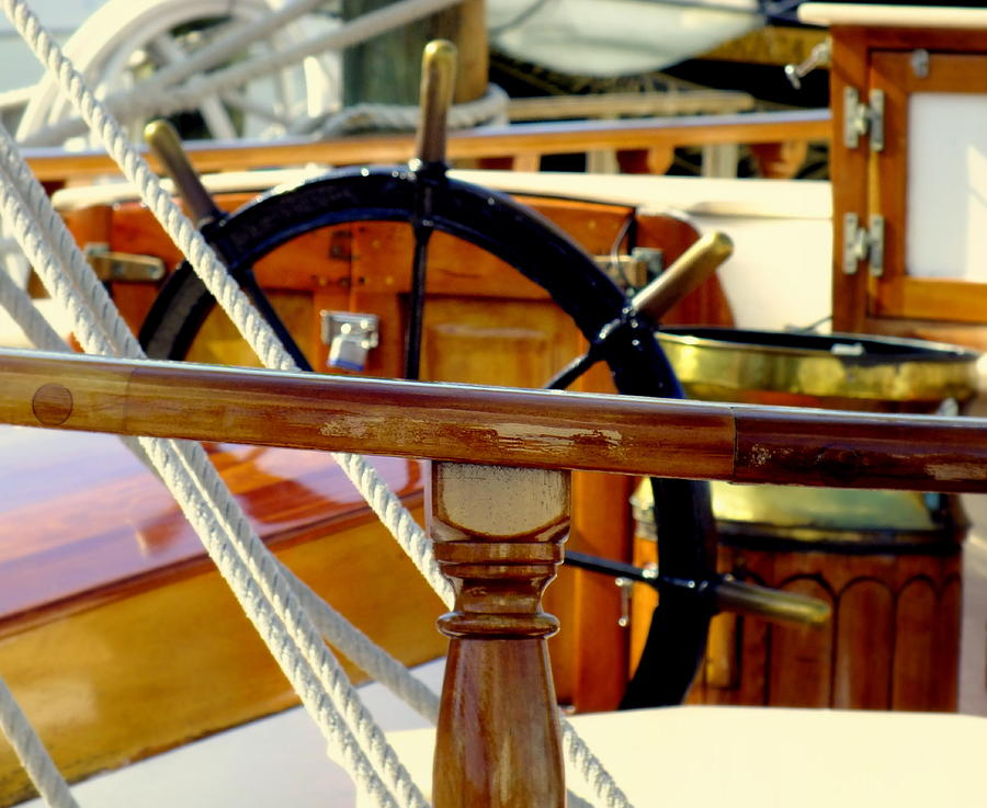 Nautical Photograph - The Captains Wheel by Karen Wiles