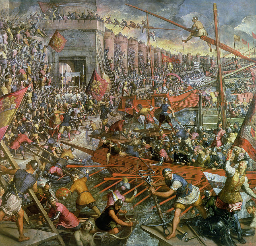 Attack Painting - The Capture Of Constantinople In 1204 by Jacopo Robusti Tintoretto