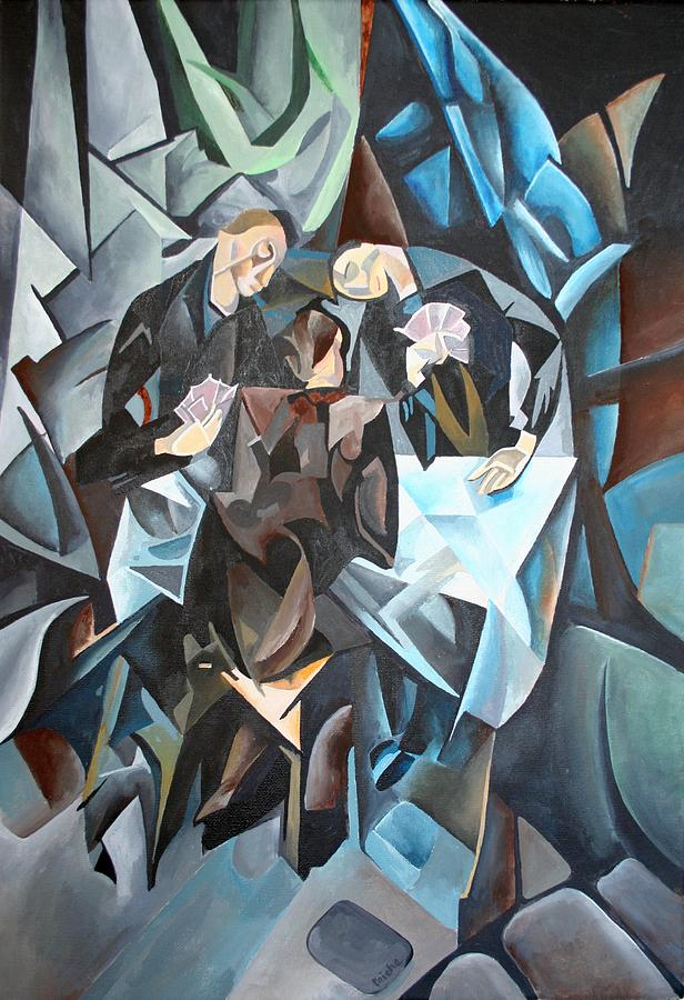 Cubism Painting - The Card Players by Tracey Harrington-Simpson