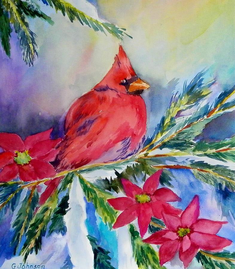 Winter Scene Painting - The Cardinal by Gloria Johnson