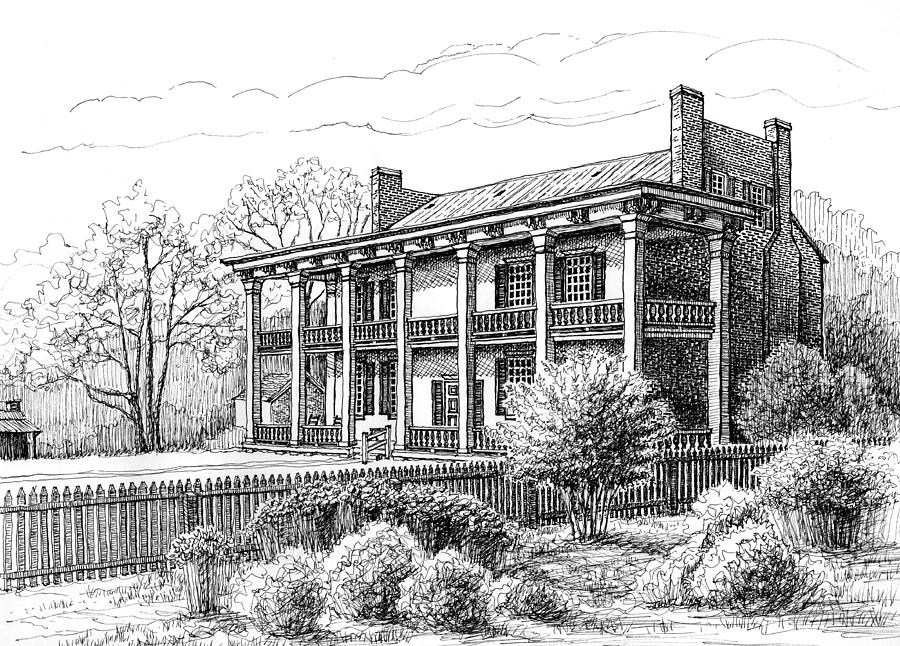 Franklin Drawing - The Carnton Plantation In Franklin Tennessee by Janet King