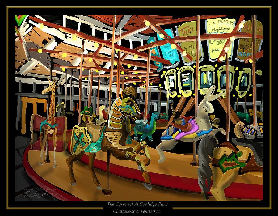 Carousel Painting - The Carousel At Coolidge Park - Chattanooga Landmark Series - #6 by Steven Lebron Langston