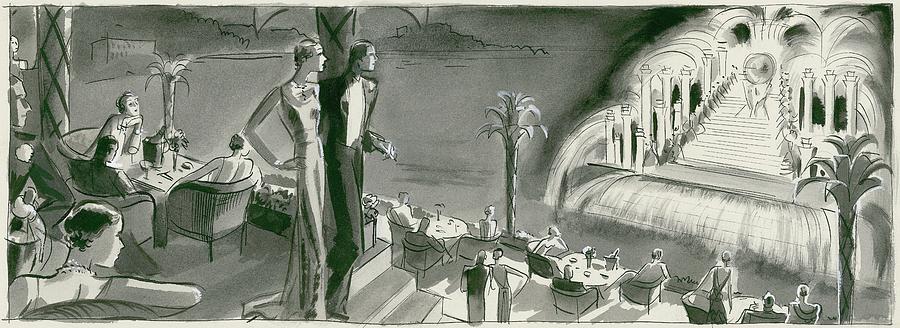 Dining Room Digital Art - The Casino Terrace At Monte Carlo by Herbert Libiszewski