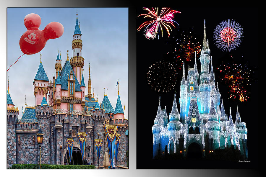 Castle Photograph - The Castles Of Disney 2 Panel Vertical by Thomas Woolworth
