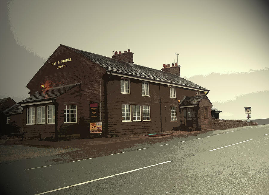 Cat Drawing - The Cat And Fiddle Public House, Pictured Here by Litz Collection