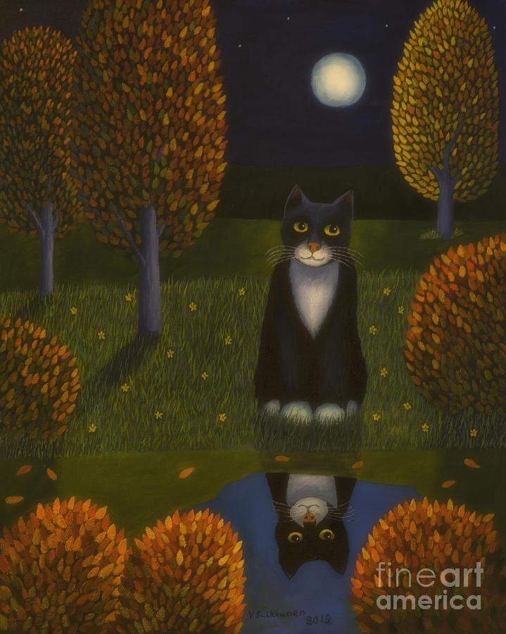 Artist Painting - The Cat And The Moon by Veikko Suikkanen