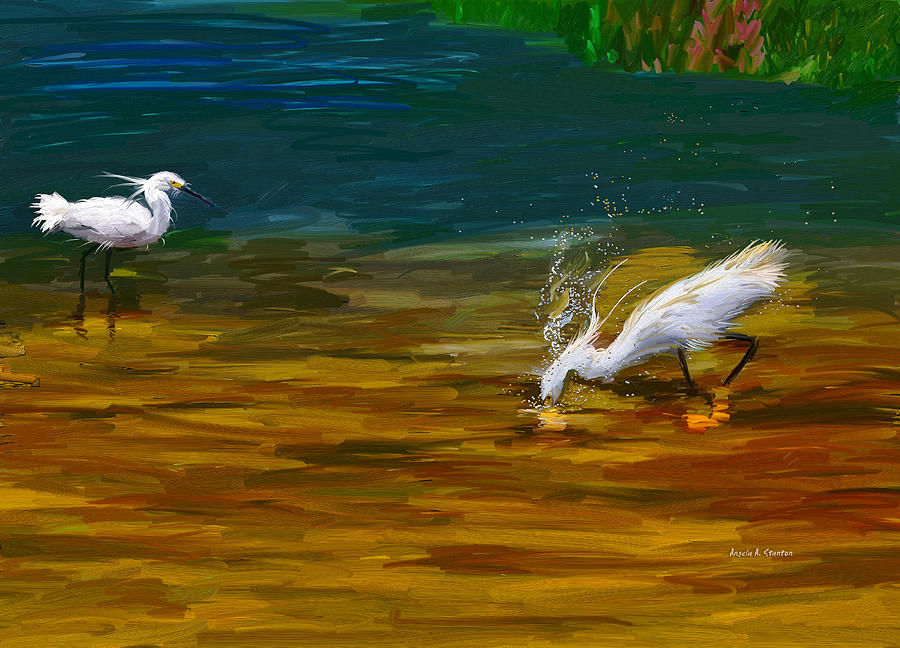Egret Painting - The Catch by Angela A Stanton