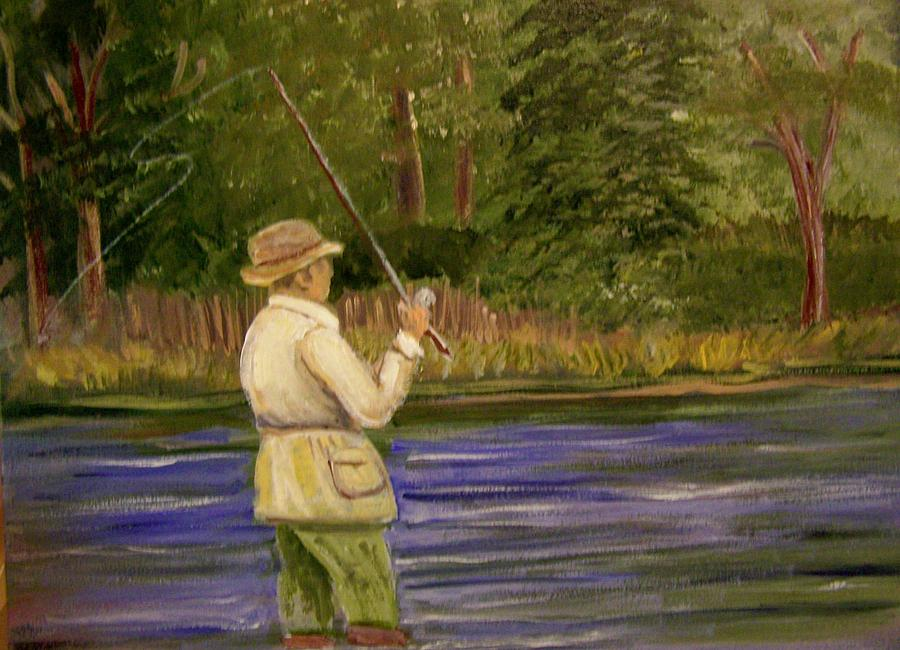 Fishing Painting - The Catch by Belinda Lawson