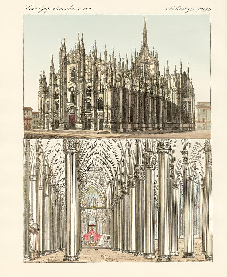 Bertuch Drawing - The Cathedral Of Milan by Splendid Art Prints