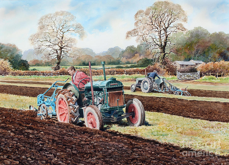 Vintage Tractors Painting - The Challenge by Anthony Forster
