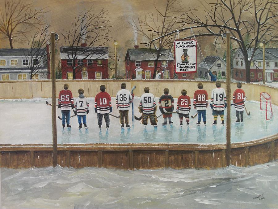 Hockey Painting - The Champs - 2013 Stanley Cup  by Ron  Genest
