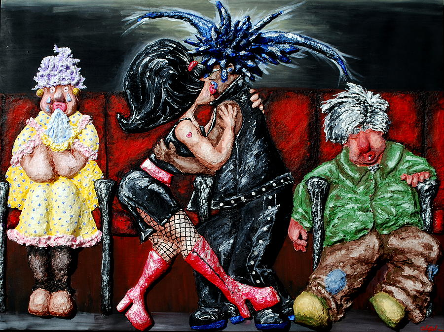 Movies Painting - The Chaperones At The Movies by Alison  Galvan