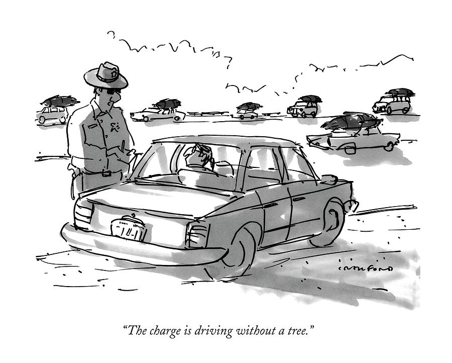 The Charge Is Driving Without A Tree Drawing by Michael Crawford