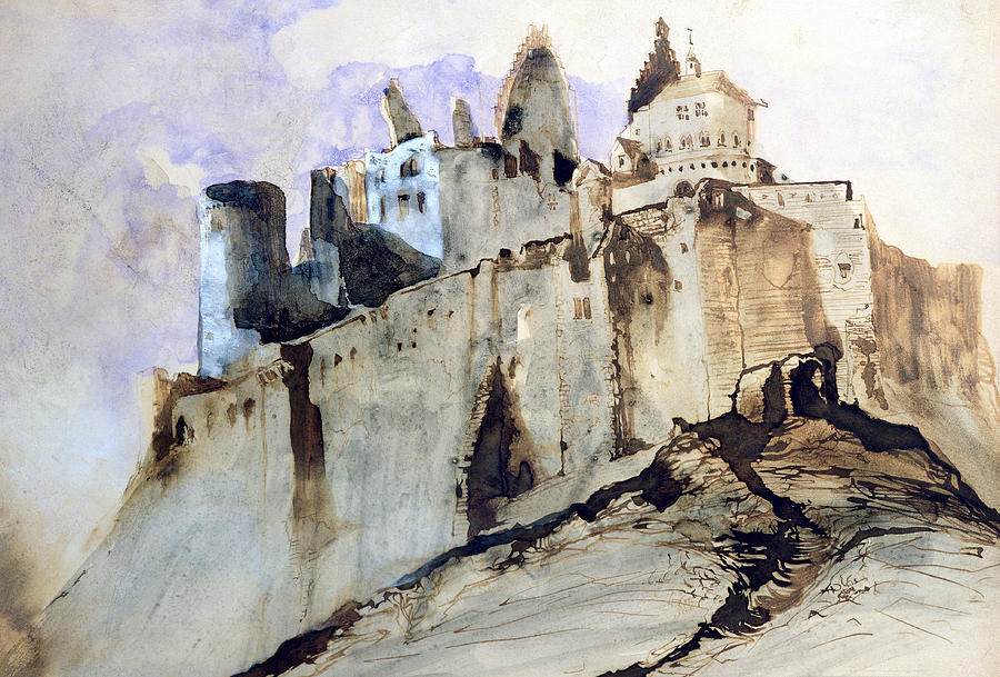 Hugo Painting - The Chateau Of Vianden by Victor Hugo