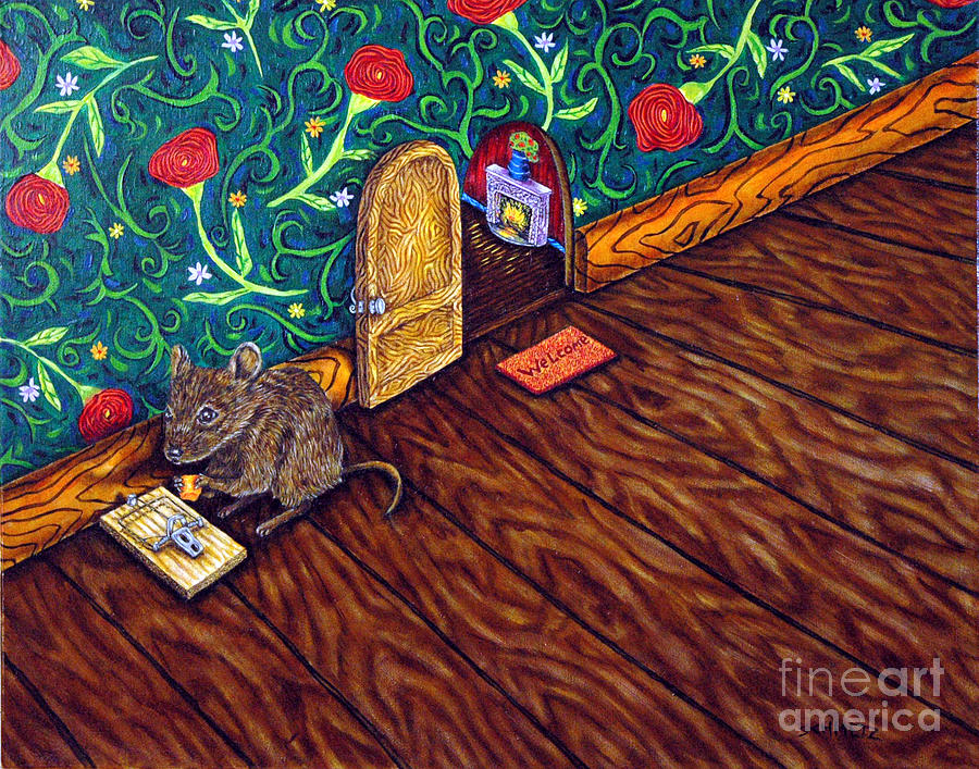 Mouse Painting - The Cheese Thief by Jay  Schmetz