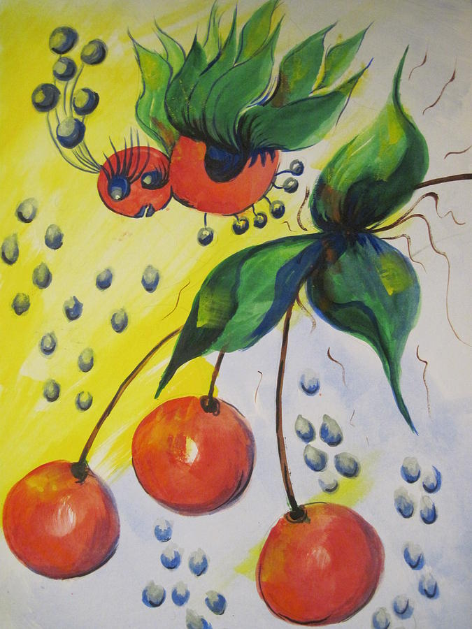 Bugs Painting - The Cherry Fairy by Shirley Watts