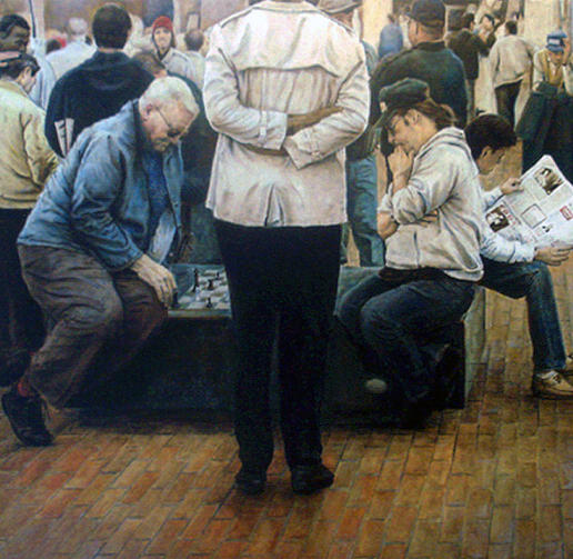 Chess Painting - The Chess Players by Taylor Overbey