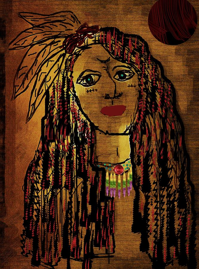 Landscape Mixed Media - The Cheyenne Indian Warrior Brave Wolf Pop Art by Pepita Selles