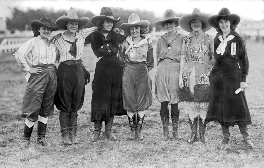American West Photograph - The Cheyenne Rodeo Roundup Cowgirls by Underwood Archives