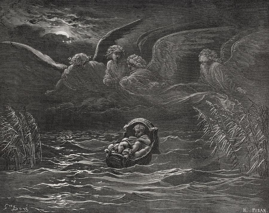 Baby Painting - The Child Moses On The Nile by Gustave Dore