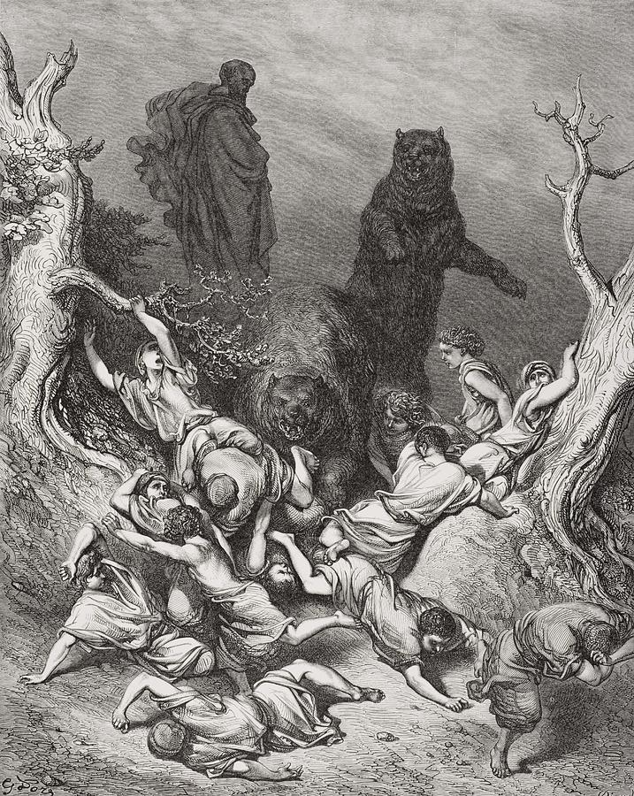 Elisha Painting - The Children Destroyed By Bears by Gustave Dore