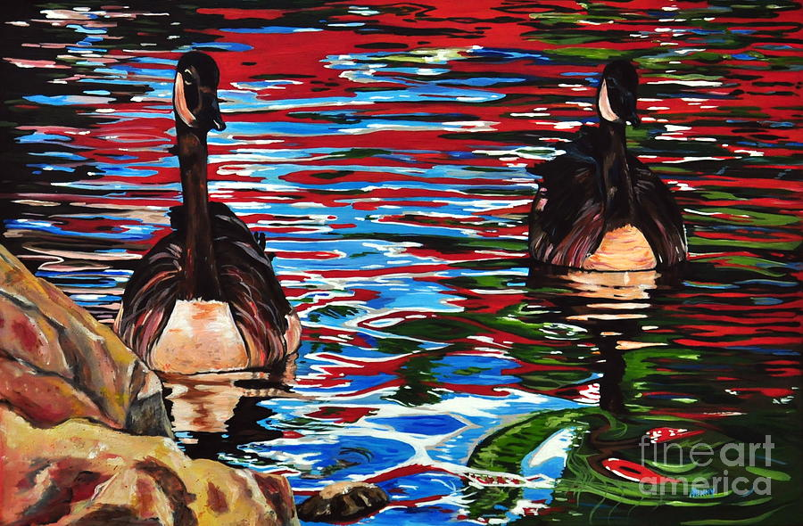 Canadian Geese Painting - The Chincgacousy Lovers 2 by Henny Dagenais