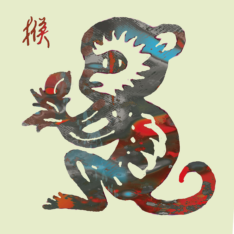 66feae22c The Chinese Lunar Year 12 Animal - Monkey Pop Stylised Paper Cut Art Poster