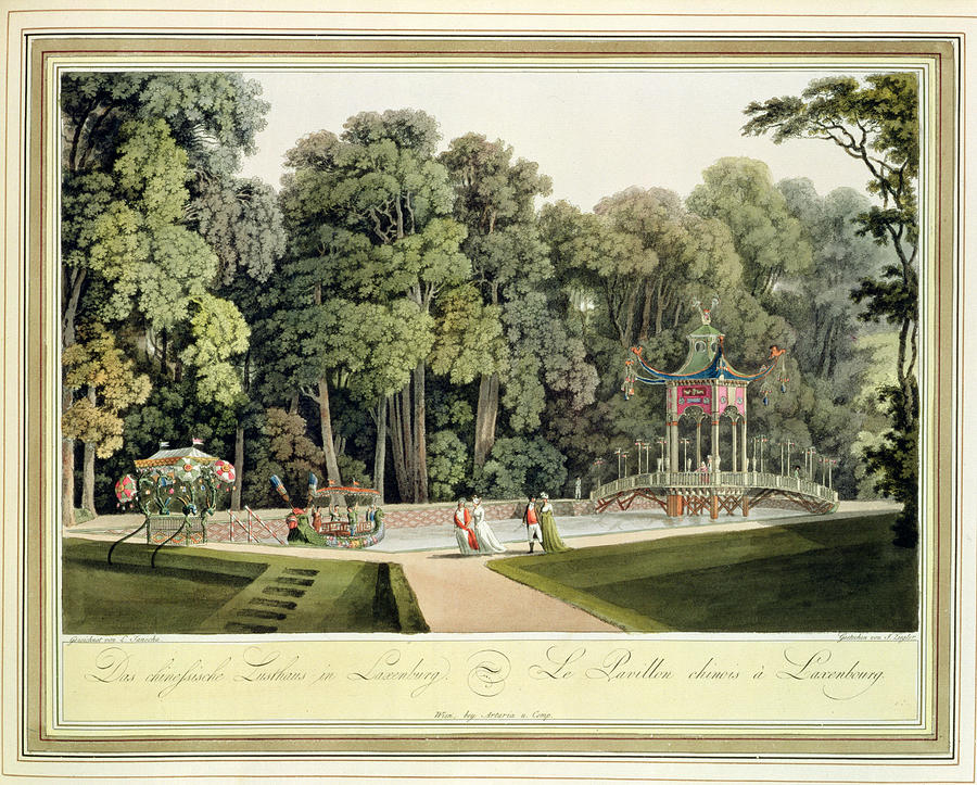Viennese Drawing - The Chinese Pavilion In The Laxenburg by Laurenz Janscha