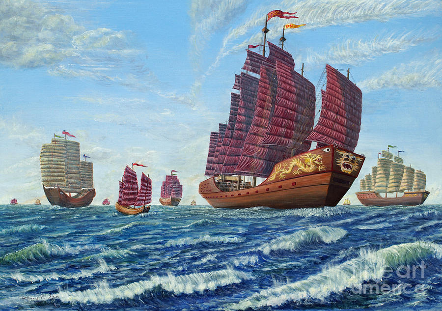 Treasure Fleet Painting - The Chinese Treasure Fleet Sets Sail by Anthony Lyon