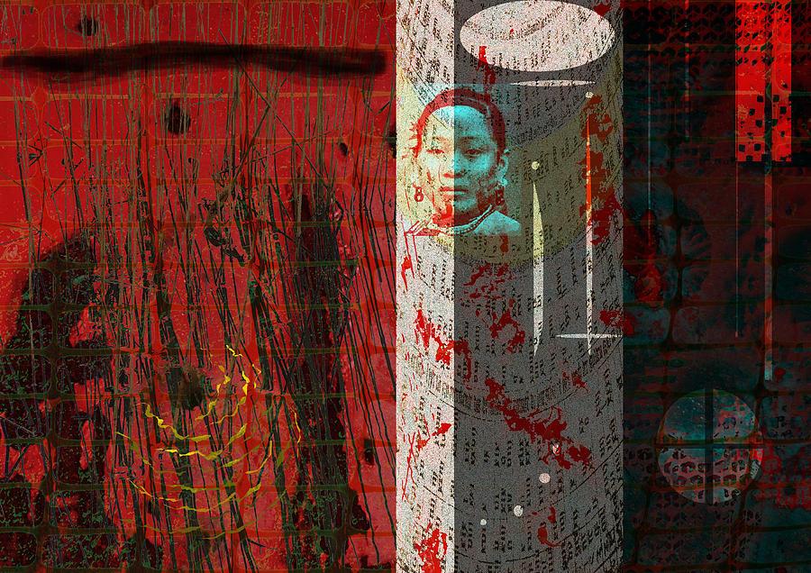 Oriental Digital Art - The Chinese Window by Maria Jesus Hernandez