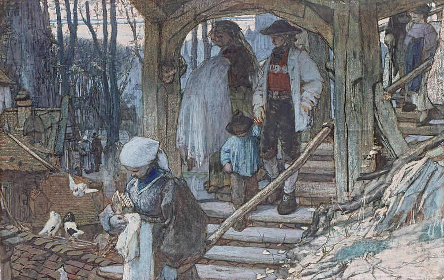 Hague School Drawing - The Christening Gate In Lausanne, C.1861 by Matthijs Maris