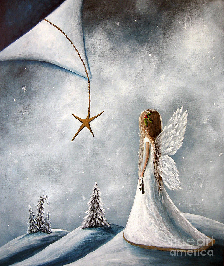 Angels Painting - The Christmas Star Original Artwork by Erback Art