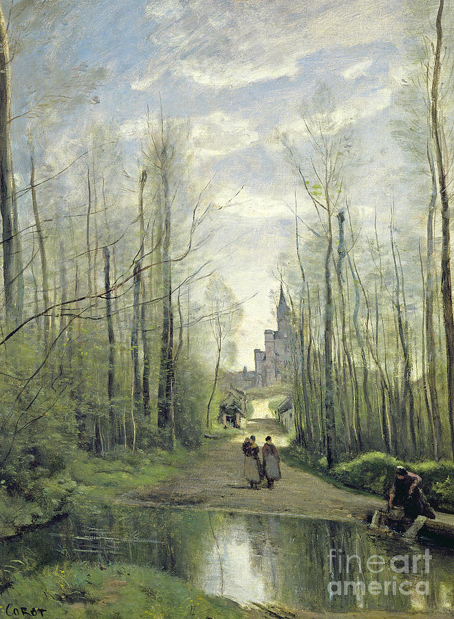 Corot Painting - The Church At Marissel by Jean Baptiste Camille Corot
