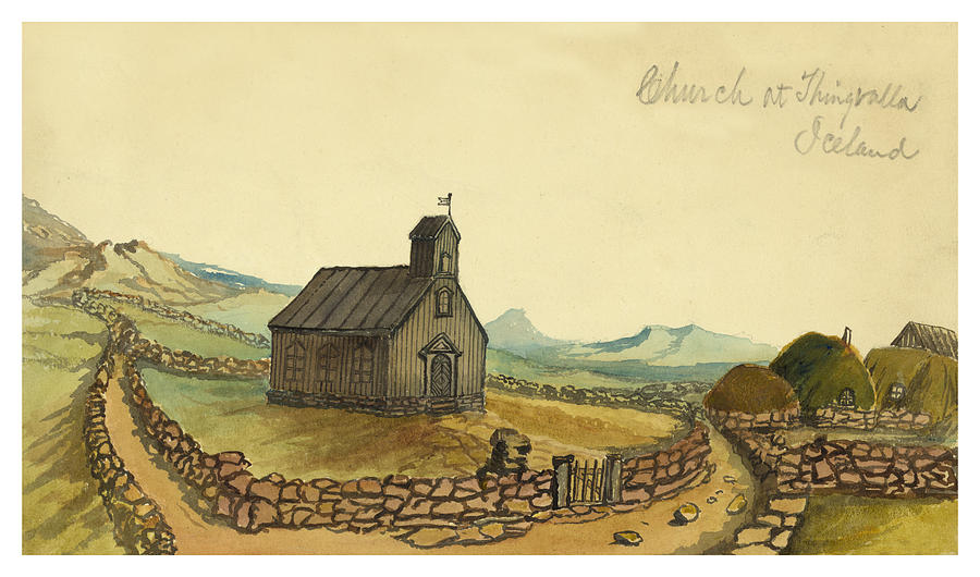 Church Painting - The Church At Thingvalla Iceland Circa 1862 by Aged Pixel