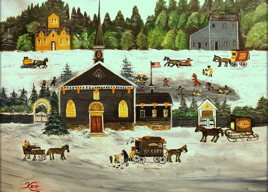 Winter Painting - The Church by Kenneth LePoidevin