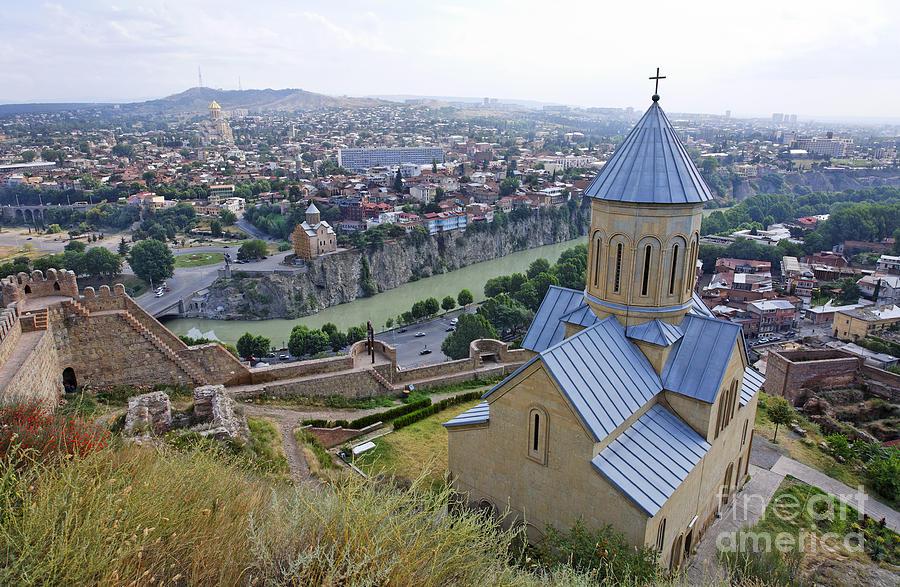 Church Photograph - The Church Of St Nicolas Overlooking Tbilisi Georgia by Robert Preston