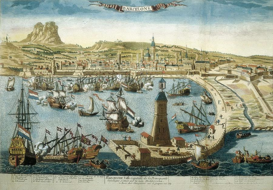 Horizontal Photograph - The City And Port Of Barcelona 18th C by Everett