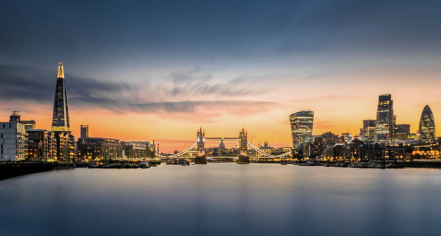The City Of London In Sunset Scene Photograph by Tangman Photography
