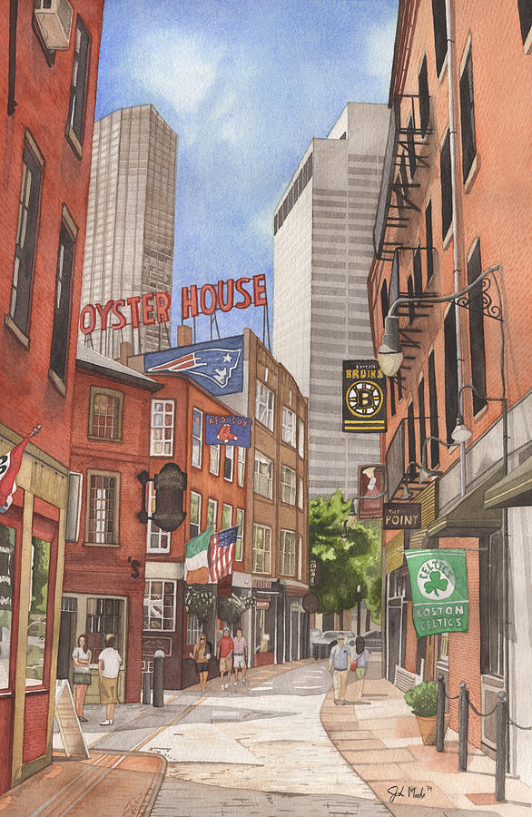 Boston Painting - The City on a Hill by Josh Marks
