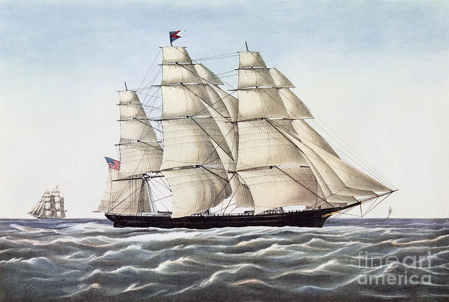Boat Painting - The Clipper Ship Flying Cloud by Currier and Ives