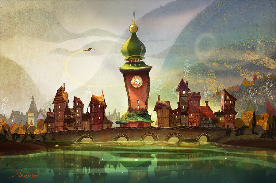 Clock Tower Painting - The Clock Tower by Kristina Vardazaryan