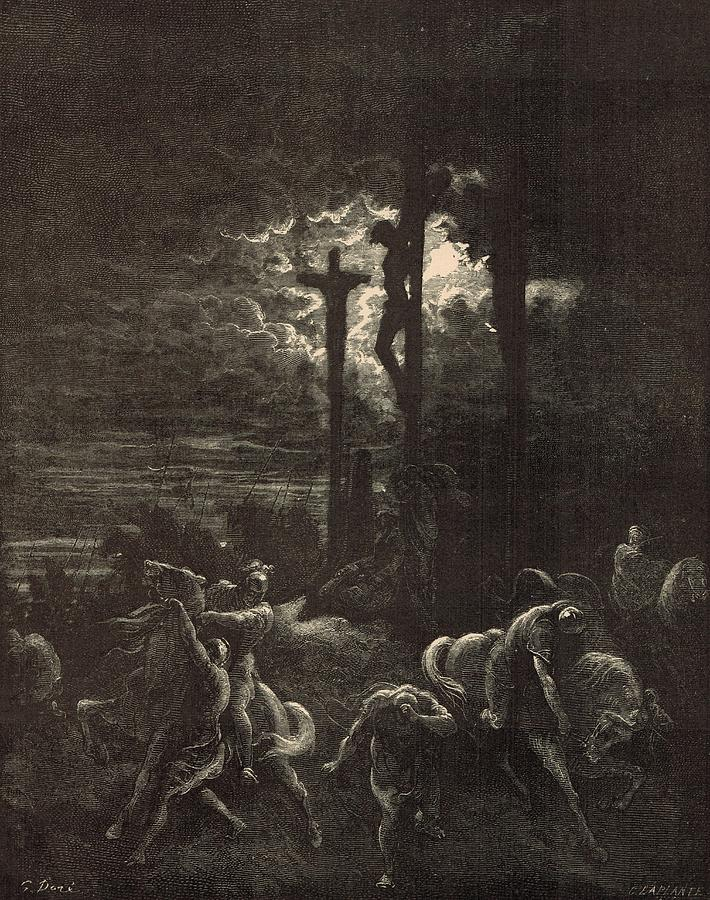 Biblical Drawing - The Close Of The Crucifixion by Antique Engravings