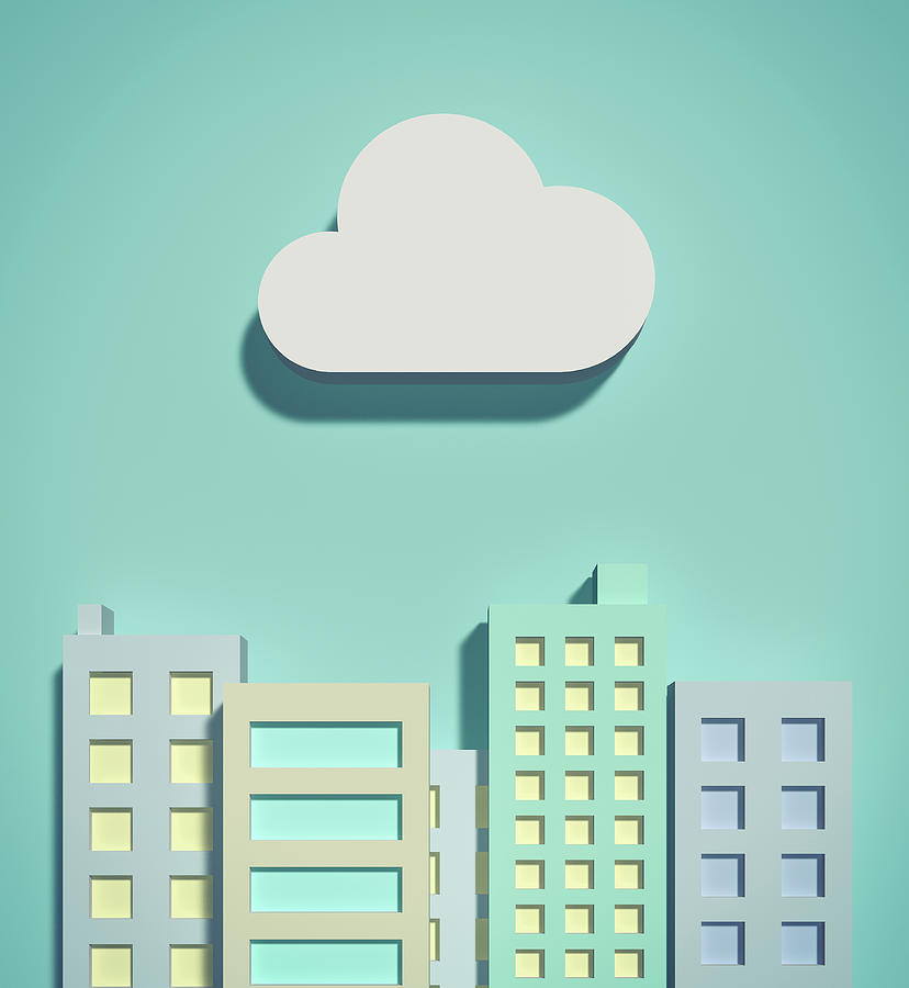 The Cloud Network And Office Buildings Digital Art by Yagi Studio