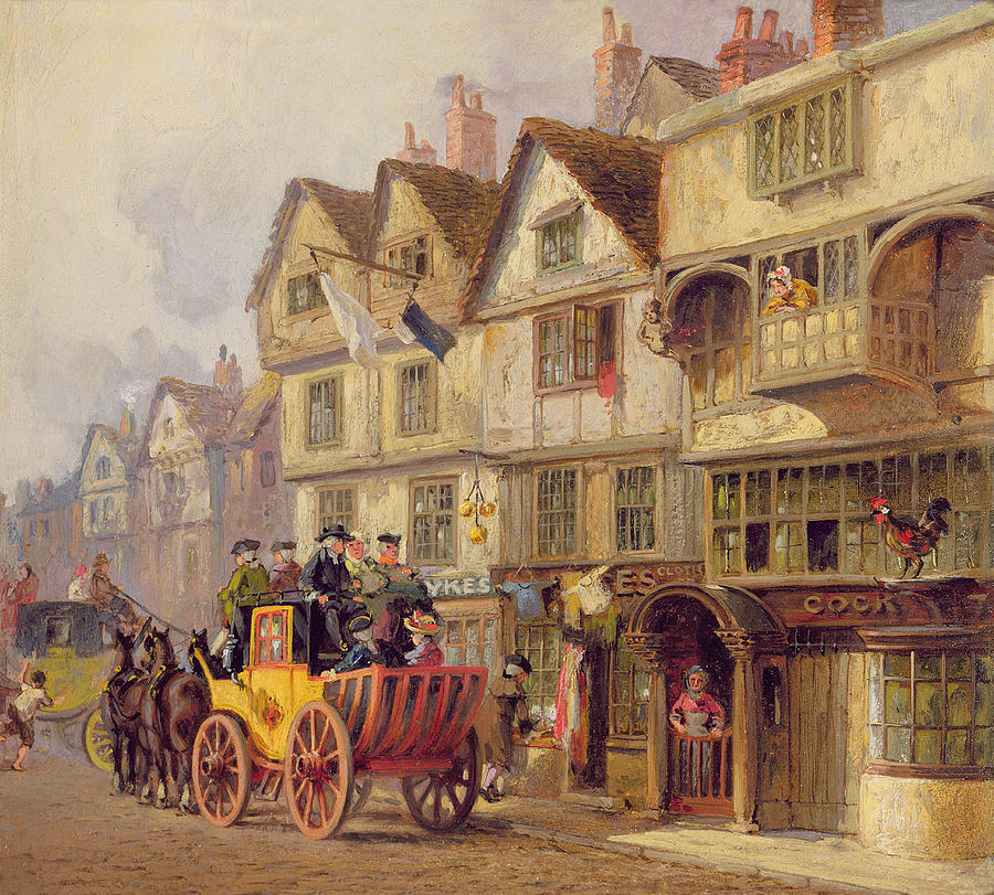 Stage Coach Painting - The Cock Tavern by Albert Joseph Moore