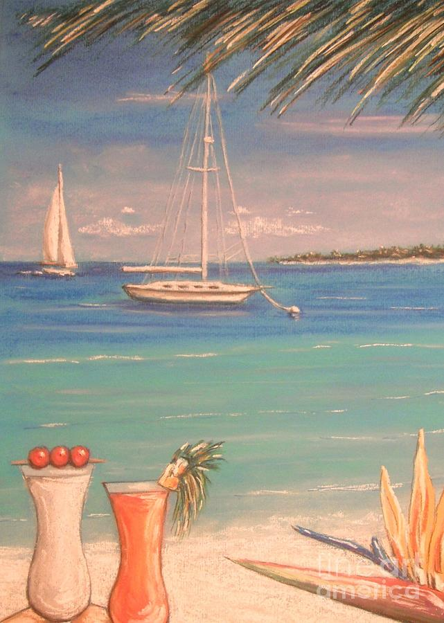 Tropical Painting - The Cocktail Hour by The Beach  Dreamer