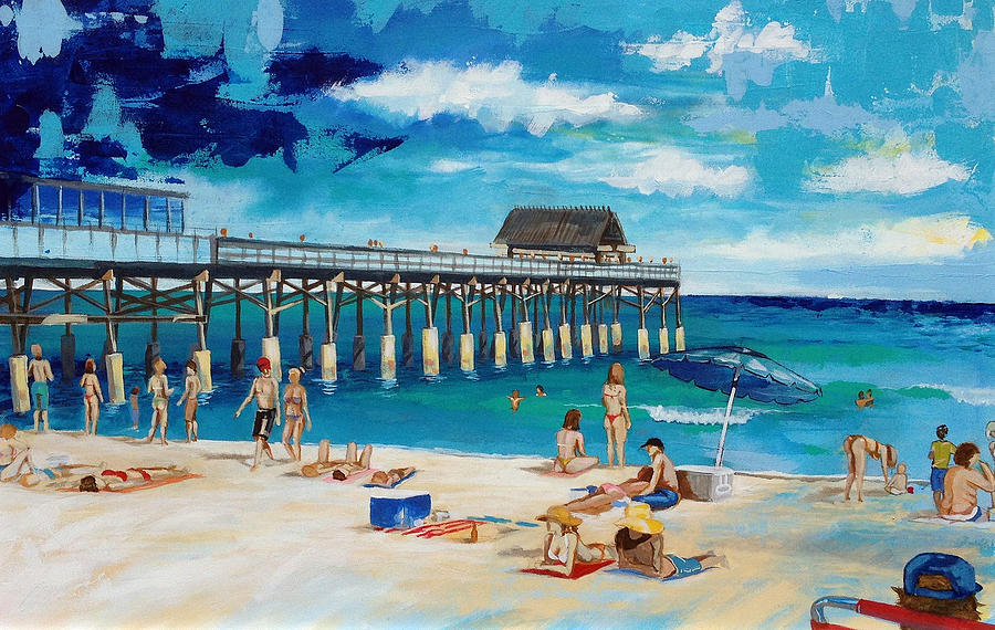 Cocoa Beach Pier >> The Cocoa Beach Pier Painting By Robert Busse