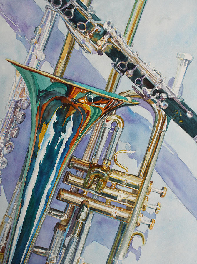 Trombones Painting - The Color Of Music by Jenny Armitage